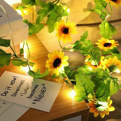 2M Artificial Garland Sunflower Vine LED String Fairy Lights Garden Lamps Wreath