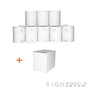 36 White Double Layer Coated 10oz Large Handle Mugs Sublimation Mug Heat Press