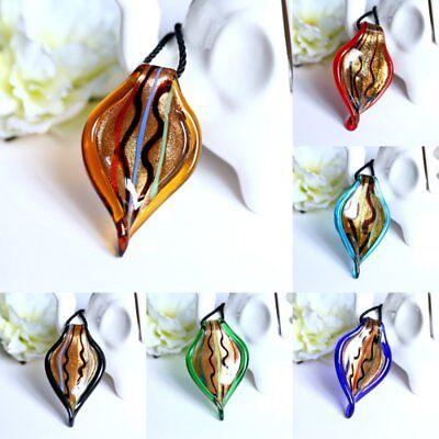Lampwork Glass Pendant Necklace - Fashion Ripple Lampwork Glass Murano Pendant Necklace Sweater Chain Jewelry Gift