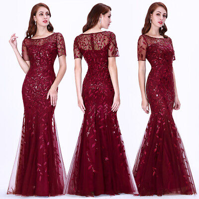 Ever-Pretty US Burgundy Long Mermaid Bridesmaid Dress Cocktail Prom Gowns 07707 Burgundy Bridesmaids Prom Gown