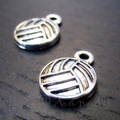 Volleyball Charms - 16mm Antiqued Silver Plated Pendants C2728 - 5, 10, 20PCs
