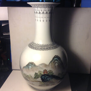 Vintage Chinese Vase Hand Painted Nature