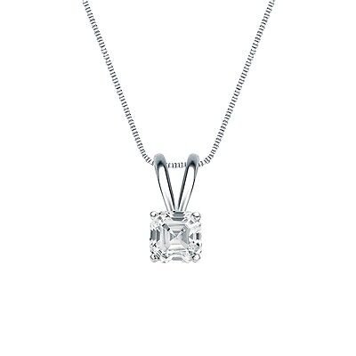 "2 Ct Asscher Brilliant Cut Solid 14k White Gold Solitaire Pendant 18"" Necklace"