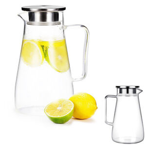 GA Glass Pitcher 1.5L Jug Water Juice Carafe Cocktail with Stainless Steel Lid