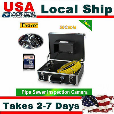 50m Sewer Pipe Pipeline Drain Inspection 7 Lcd Video Recording Camera 8gb Dvr