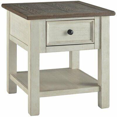 Ashley Furniture Bolanburg 1 Drawer End Table in Antique White White Antique End Table