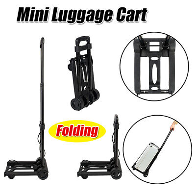 Portable Mini Cart Folding Push Truck Hand Trolley Luggage Package Holder Metal