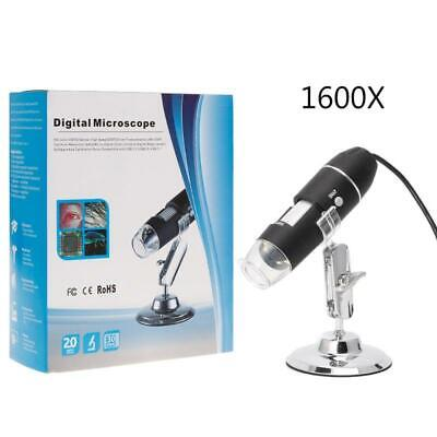 1600X USB Digital Microscope Camera Endoscope Zoom 8 LEDs Magnifier with Stand
