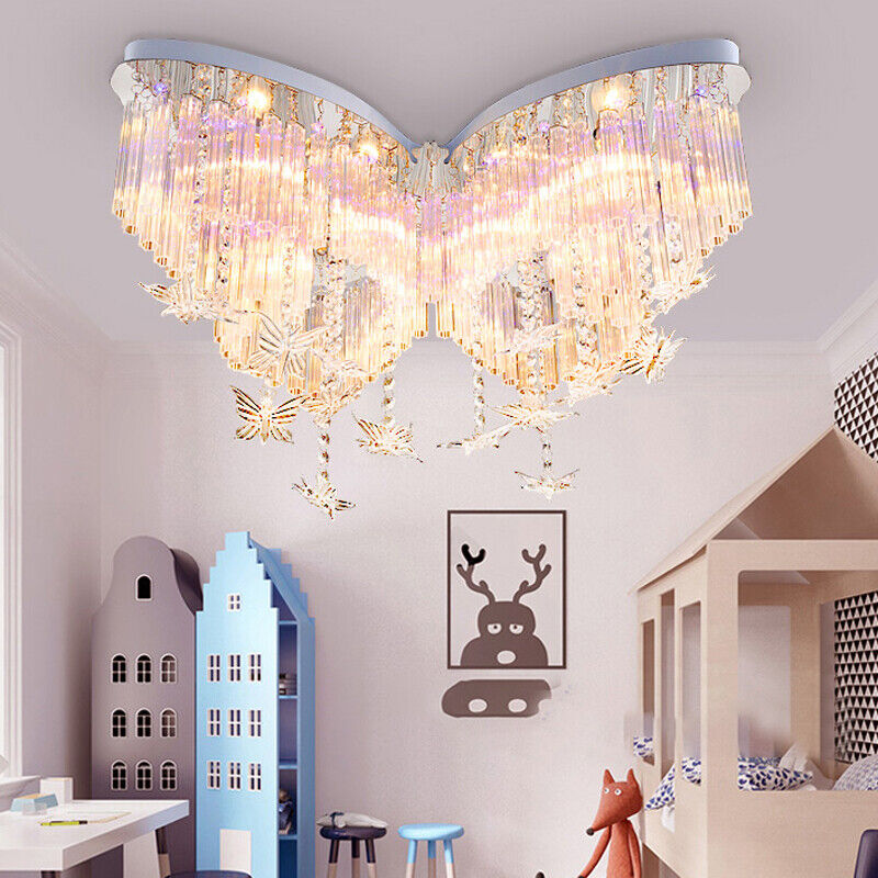 Details about Butterfly LED Girls Bedroom Chandelier Hanging Crystal Flush  Mount Light Fixture