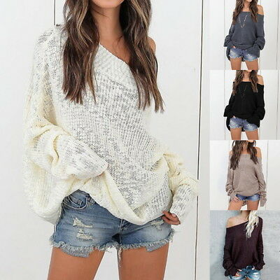 (Woman strapless Loose Off Shoulder Sweater Pullover Blouse Knittwear KnittedTops)