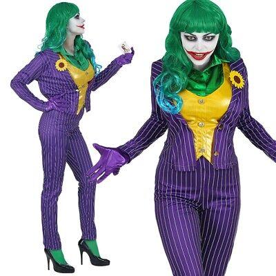 Mad Joker Damen Kostüm Gr. XL 46/48  - Schurkin Harlekin Clown Bösewicht - #0803 ()