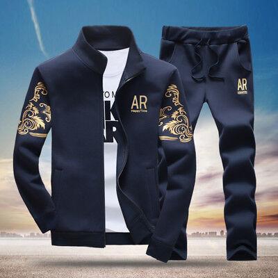 2PCS Men Casual Tracksuit Sports Suit Jogging Athletic Jacket Coat + Long Pants ()