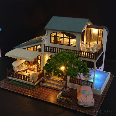 DIY Villa Dollhouse Wooden Assembled Miniatures Furniture Kits London Holiday for sale  China