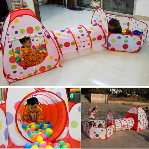 3 In 1 Indoor/Outdoor Kids Pop Up Play House Tents Tunnel an