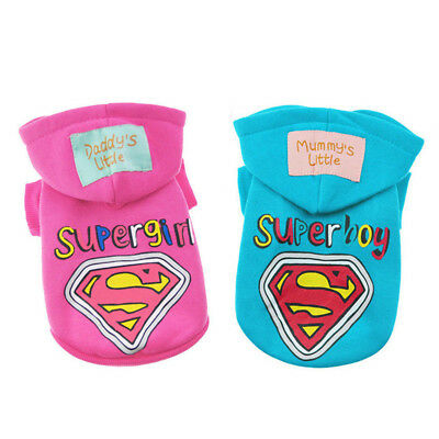 Small Dog Hoodie Cat Puppy Clothes Print Superman Pet Costume Coat Sweater Warm