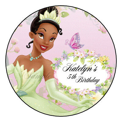 Princess Tiana Birthday Party Favor Round Labels Stickers](Princess Tiana Party)