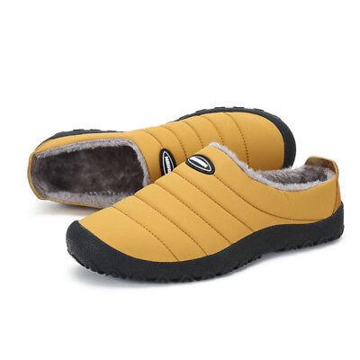 Men's Indoor Slippers Warm With velvet Waterproof Winter Home Shoes US 5.5-10.5