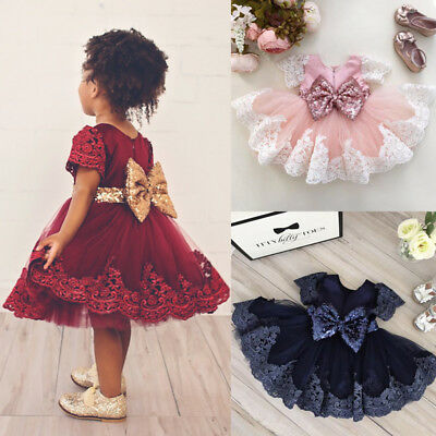Lace Baby Flower Girls Princess Dress Formal Christening Birthday Wedding Party
