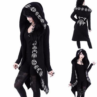 Damen Mädchen Gothik Jacke Hexe Zauberer Cosplay Kapuzenpullover Mantel Kostüm