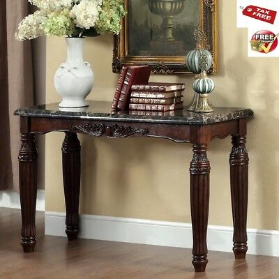 (Entryway Table Faux Marble Top Console Sofa Wood Accent Espresso Traditional )