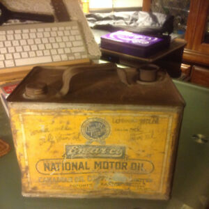 RARE Early Enarco National White Rose Oil Can Square One Gallon