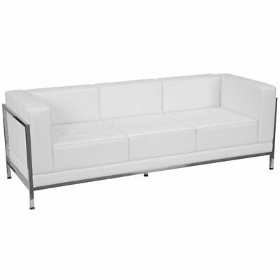 leather reception sofa in white