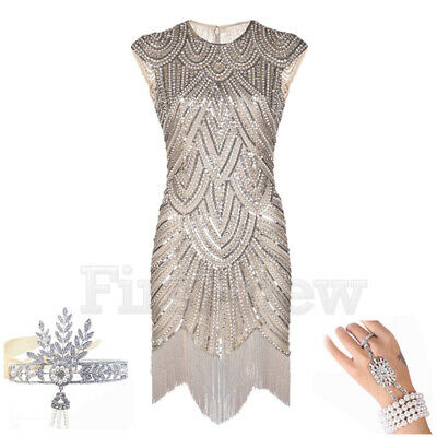1920 Great Gatsby Dresses (1920's Flapper Dress Great Gatsby Party Prom Gown Womens Sequins Evening)