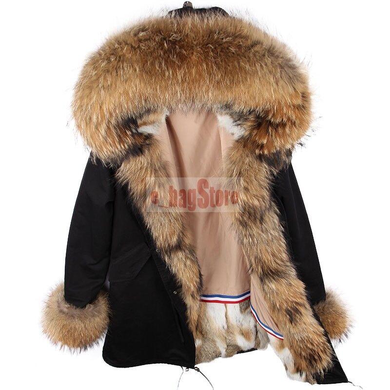 Women Luxury Big Real Raccoon Fur Collar Hooded Cuff Coat Rabbit Fur Liner Parka