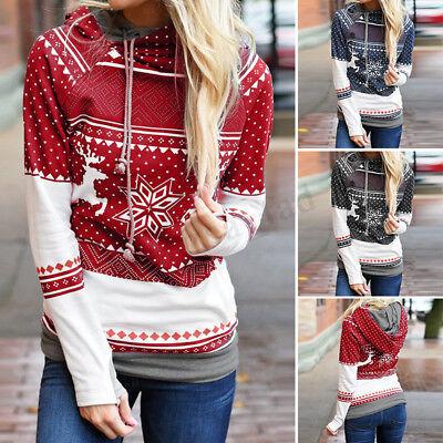 Weihnachts Welle Elch Schneeflocke Damen Kapuzen Langarm Pullover Sweatshirt Top