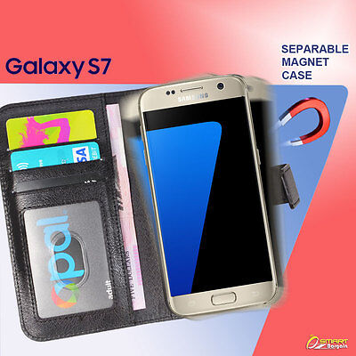 Magnetic Separable Flip Card Slot  Wallet Case Cover For Samsung Galaxy S7  Magnetic Wallet Case
