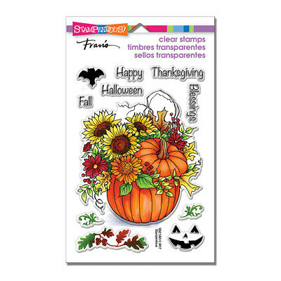 FALL PUMPKIN & Sayings CLEAR Unmounted Rubber Stamp Set STAMPENDOUS SSC1265 - Fall Sayings