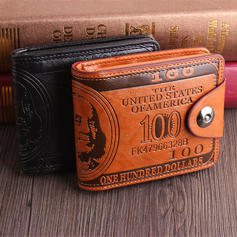 Mens $100 Printed Leather Bifold Wallet Cash Card Holder Purse with Flap Handbag Clothing, Shoes & Accessories
