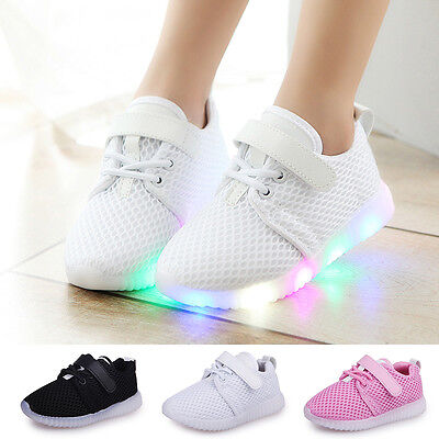 LED Baby Boys Girls Shoes Kids Light Up Luminous Trainers Sport Sneakers Size
