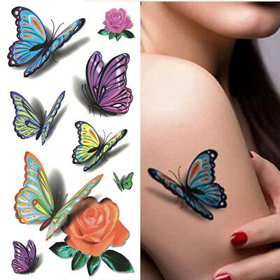 Temporary Tattoos for Women Body 3D Art Tattoo Sticker Butterfly Flower Tatoo