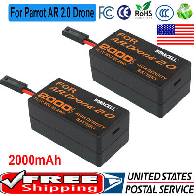 2x 2000mAh 11.1V Rechargeable Battery Pack Replalcement for Parrot AR 2.0 Drone