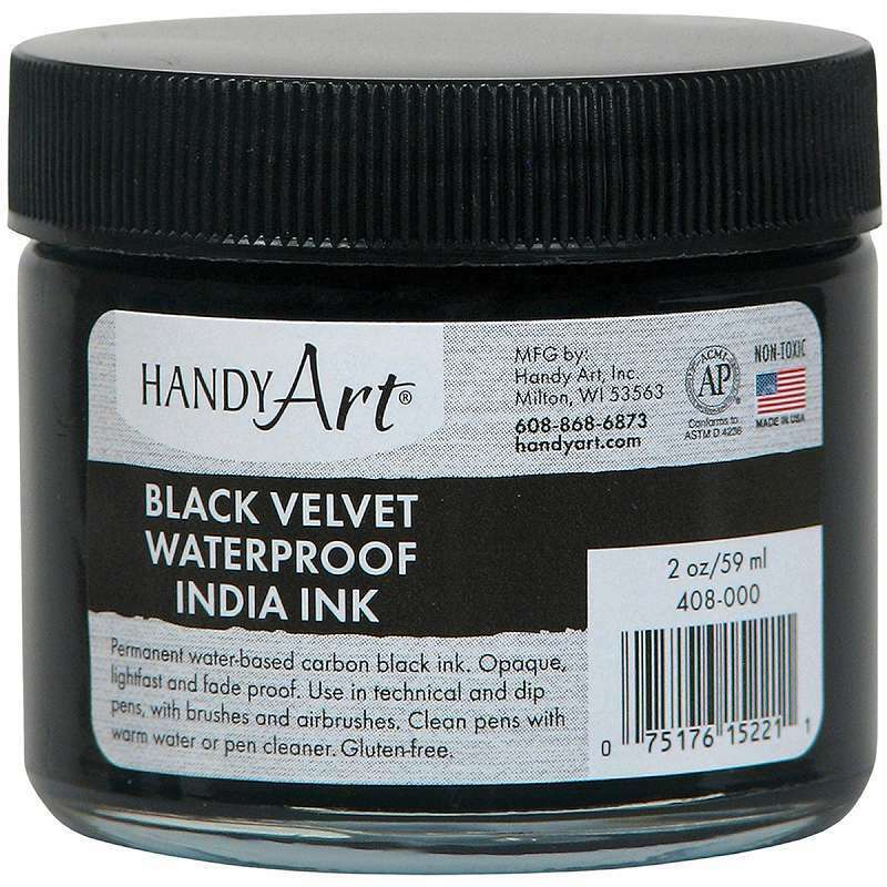 Handy Art Black Velvet India Ink 2oz Glass Jar  075176152211