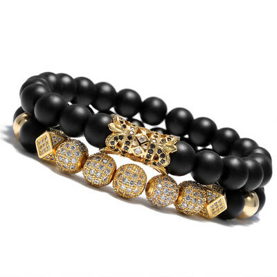 New Luxury Micro Pave CZ Ball Crown Charm Bracelet Men Jewelry Matte Agate Bead - Beaded Charm Bracelets