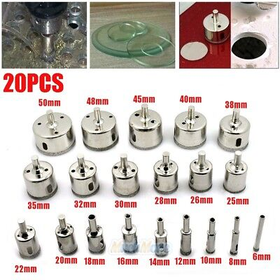 20Pcs Diamond Hole Saw Drill Bit Set Cutting Tool For Tile Marble Glass 6mm-50mm ()