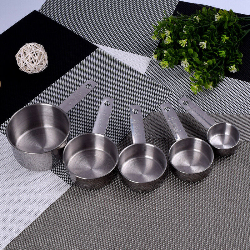 5PCS Stainless Steel Measuring Cups and Spoons Set Kitchen B