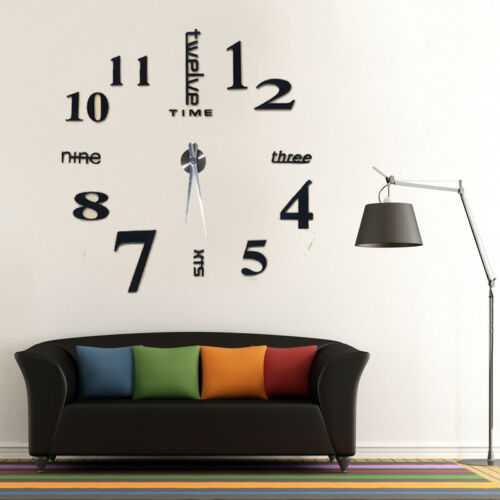 Design Wanduhr Deko Spiegel Wandtattoo Wand Uhr Wohnzimmer 3D XXL Schwarz GB