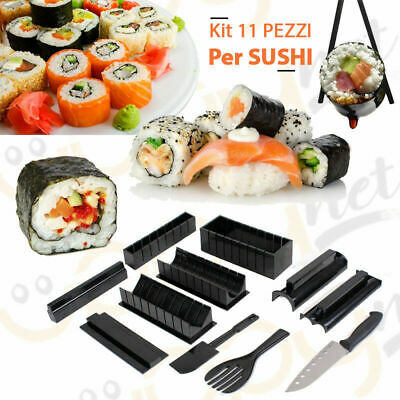 KIT FARE SUSHI MAKER VARIE FORME COLTELLO ACCESSORI ARROTOLARE STAMPINI TAGLIA -