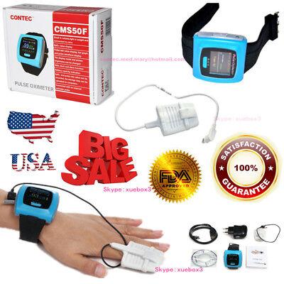 Contec Cms50f Wrist Pulse Oximeter Oled Usb Pc Software Alarm 24hour Record.