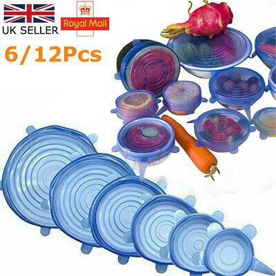 6/12 pcs Set Stretch Silicone Food Bowl Cover Storage Wraps Seals Reusable Lids