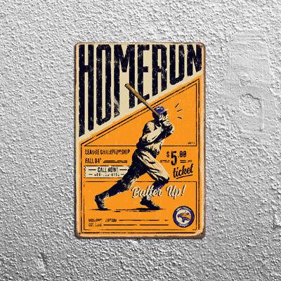 Metal Tin Sign homerun  baseball Decor Bar Pub Home Vintage Retro Poster