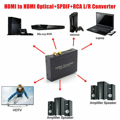 1080P Audio Extractor Converter Splitter HDMI to HDMI & Optical SPDIF + RCA L/R for sale  Shipping to India