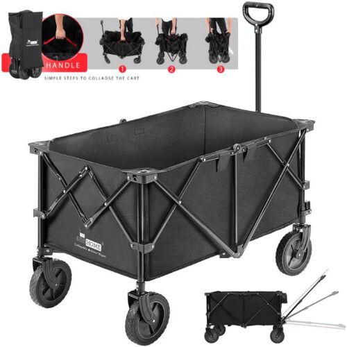 176lbs Heavy Duty Collapsible Garden Cart Utility Wagon w/ 2 Drink Holders Wheel