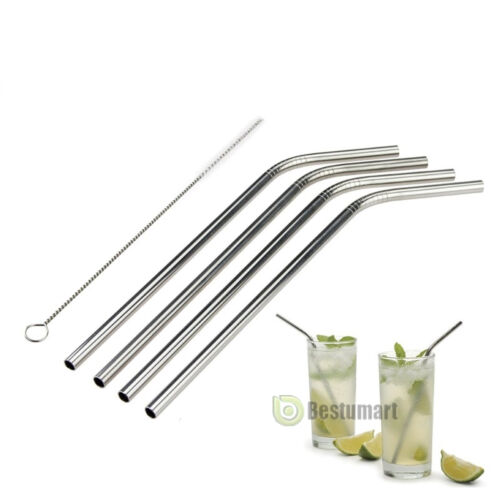4 Stainless Steel Metal Reusable Cocktail Drinking ...