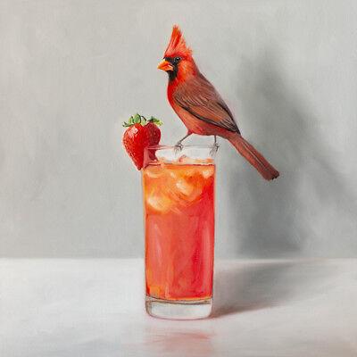Cardinal and Strawberry Cocktail - Bird Art Still Life Original Oil Painting