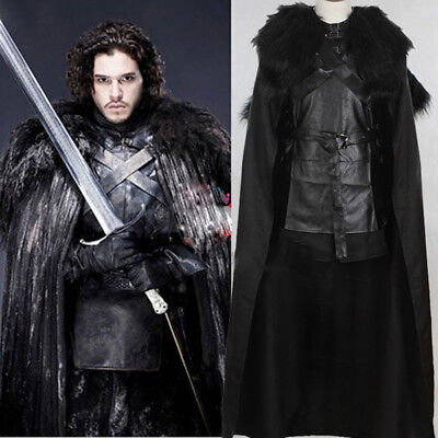 Game of Thrones Jon Snow Night Guard Cosplay Anime Schwarzes Kostüm Pelzumhang
