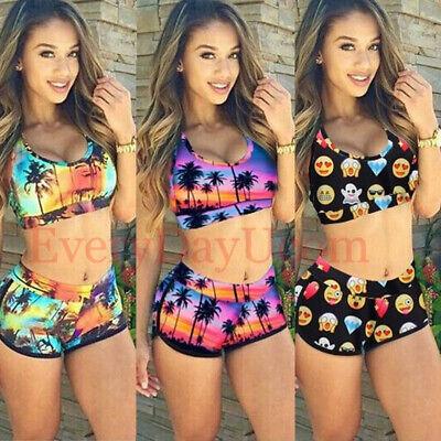 Women Sport Tankini Sets Brazilian Funny Swimwear Two Piece Swimsuit Bikini (Sport Two Piece Swimsuit)